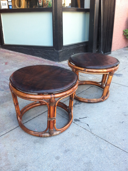 Pair of Rattan Stools With Naugahyde Cushions