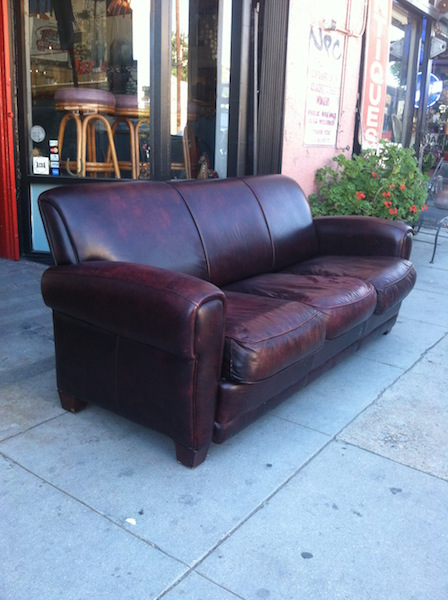 SOLD | Charismatic Comfort | Oxblood Leather Sofa By Moroni Inc. U2014 Casa  Victoria Vintage Furniture Los Angeles