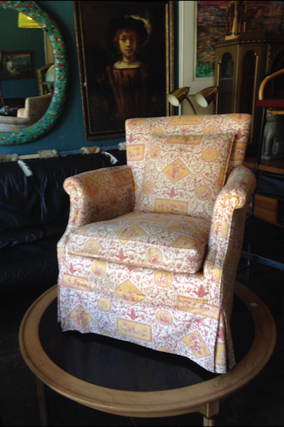 vintage toile slipper chair