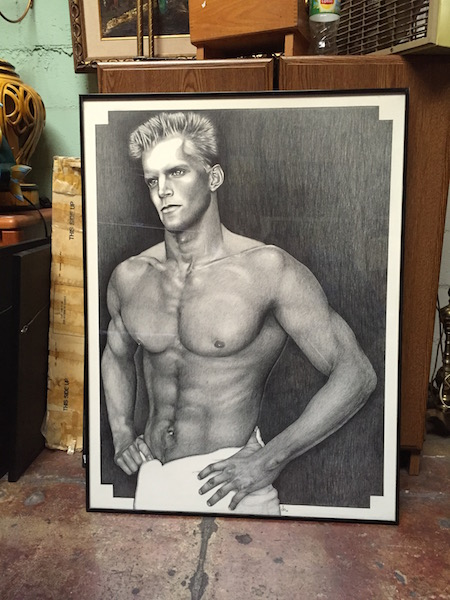 Hunk Of Love Large 80s Graphite Drawing Casa Victoria