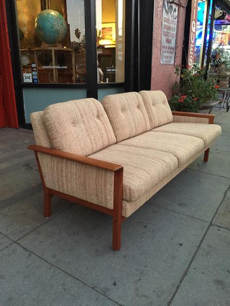 1960s Danish Style Teak And Tweed Sofa