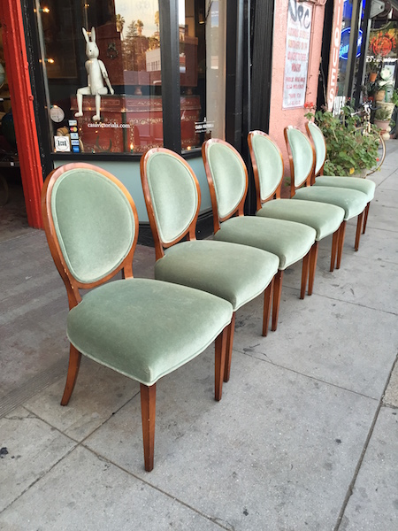 Set of 6 Green Mohair Dining Chairs by Nancy Corzine