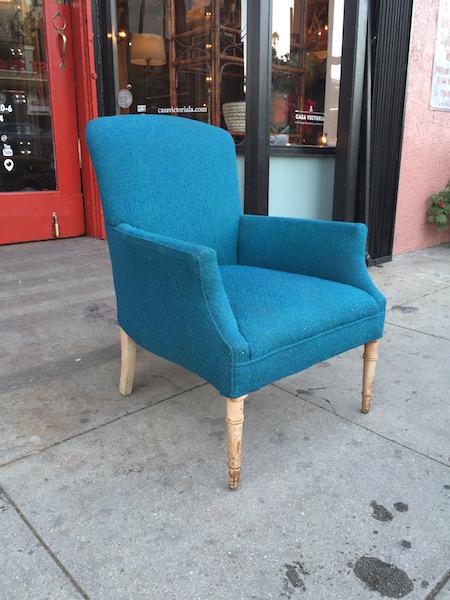 Mid-century Blue Tweed Chair