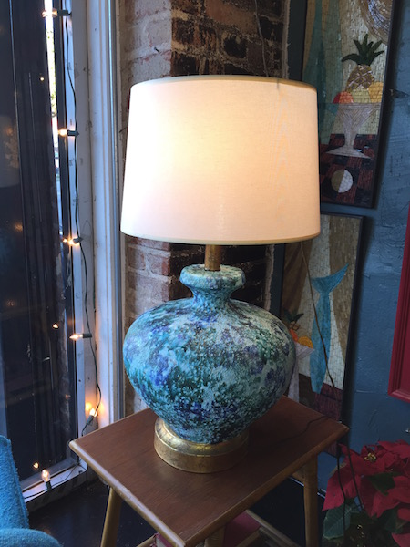 Blue and Green Mid-century Pottery Lamp