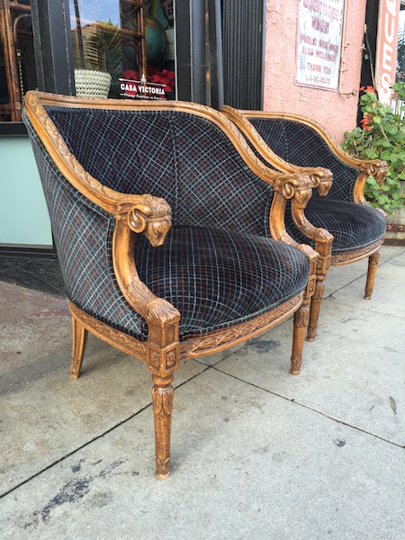 Pair of Hand Carved Ram's Head Chairs