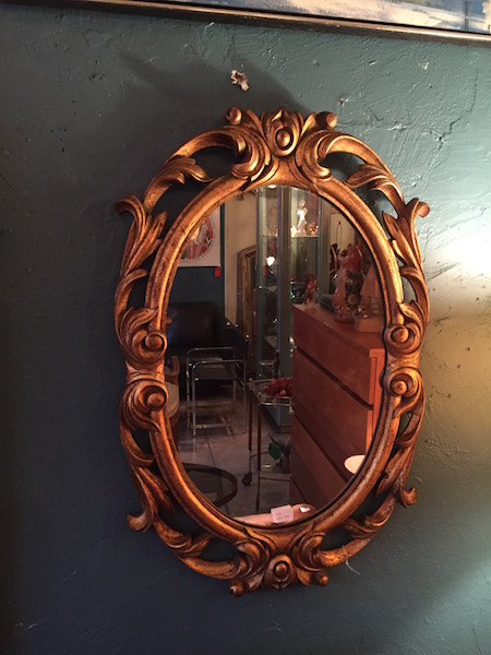 Carved Wood Mirror With Gold Leaf Finish