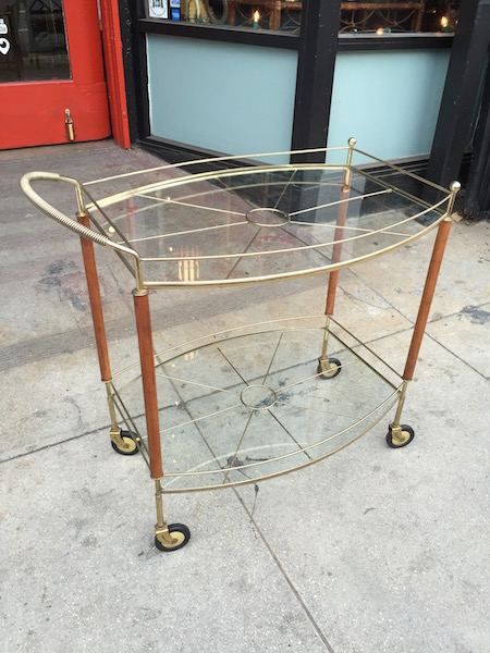 Mid-century Brass and Teak Bar Cart