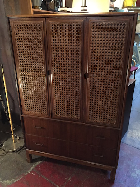 1960s High Boy Dresser With Cane Doors