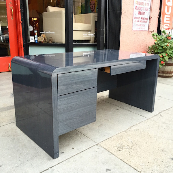 1980s Furniture started from the bottom | 1980s modern blue gray desk — casa