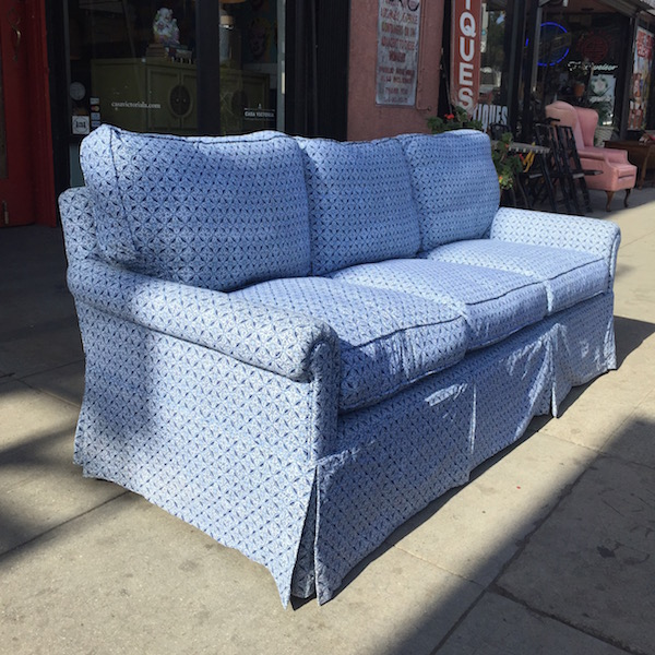 Reupholstered Vintage Sofa with Down Cushions