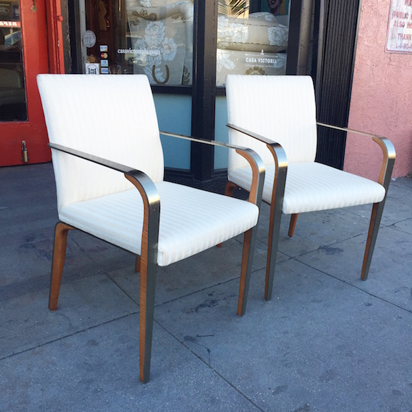 Modern Style Chair with Metal Clad Arm and Legs