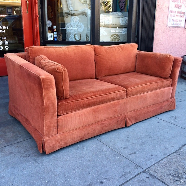 Classic 1970s Orange Corduroy Love Seat Sleeper Sofa