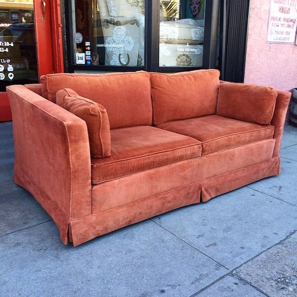 Classic 1970s Orange Corduroy Love Seat Sleeper Sofa