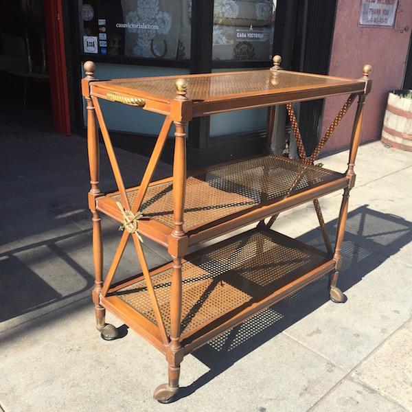 Vintage Tri-Level Cane Bar Cart