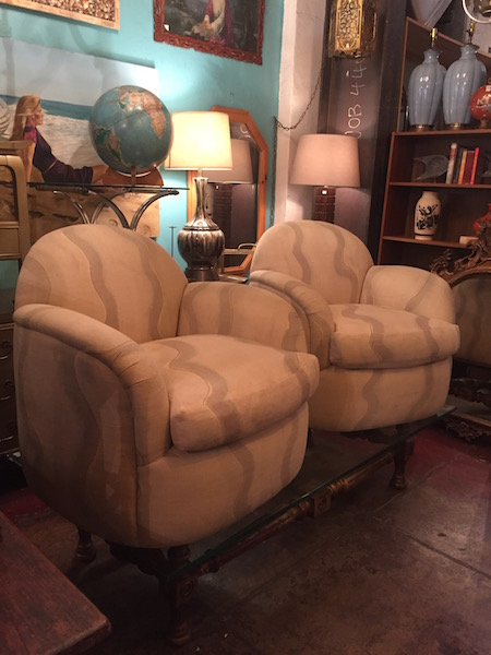 pair of custom made 1980s swivel club chairs