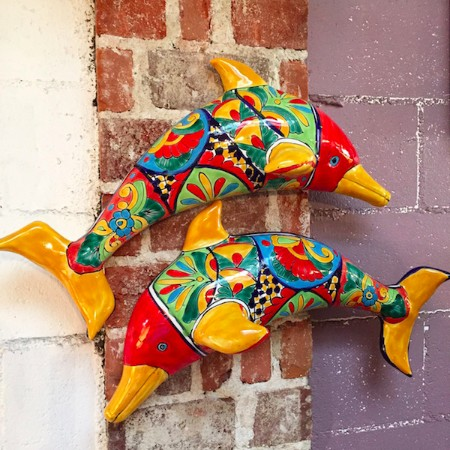 Pair of Colorful Pottery Dolphins