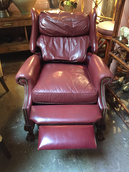 Vintage Burgundy Leather Wing Chair Recliner
