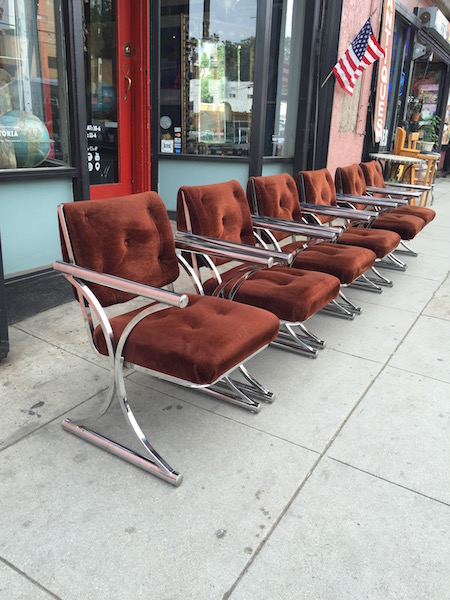 Set of Six Chrome Arm Chairs