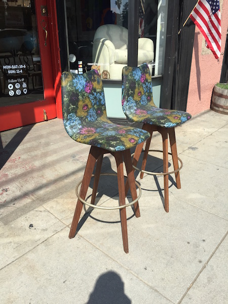 Pair of Floral Mid-century Bar Stools