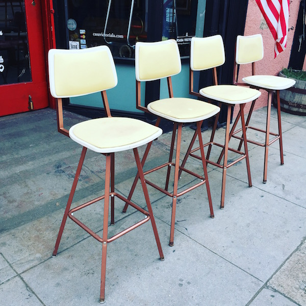 Set of Four Mid-Century Swivel Bar Stools