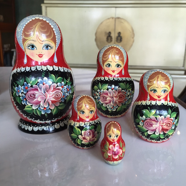 Vintage Hand Painted Set of Carved Russian Dolls