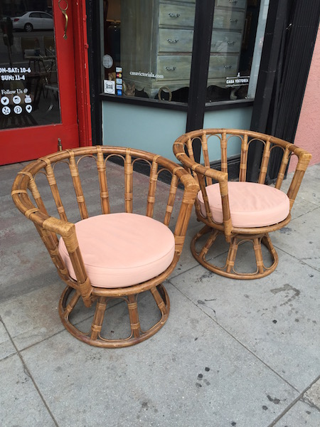 Pair Of Vintage Rattan Swivel Chairs