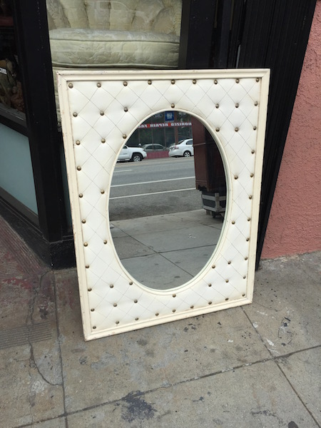 Upholstered Mirror with Tacked Detailing