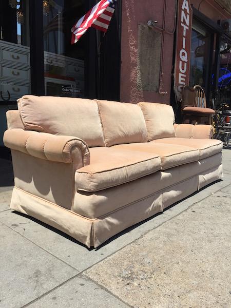 Classic Peach Velvet Sofa by Baker