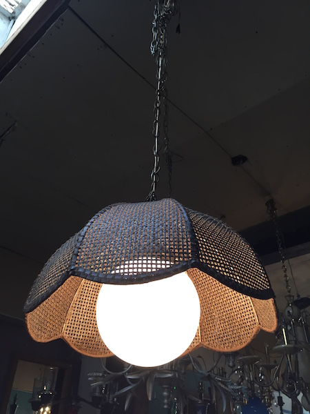 Hanging 1970s Wicker Basket Lamp