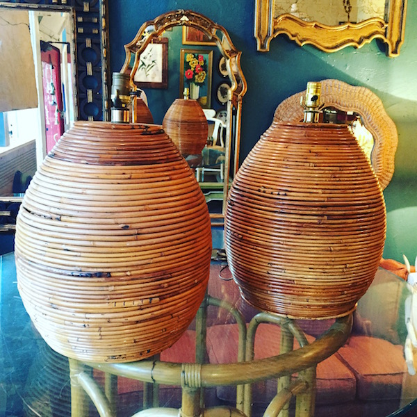 Pair of Large Bee Hive Bamboo Lamps