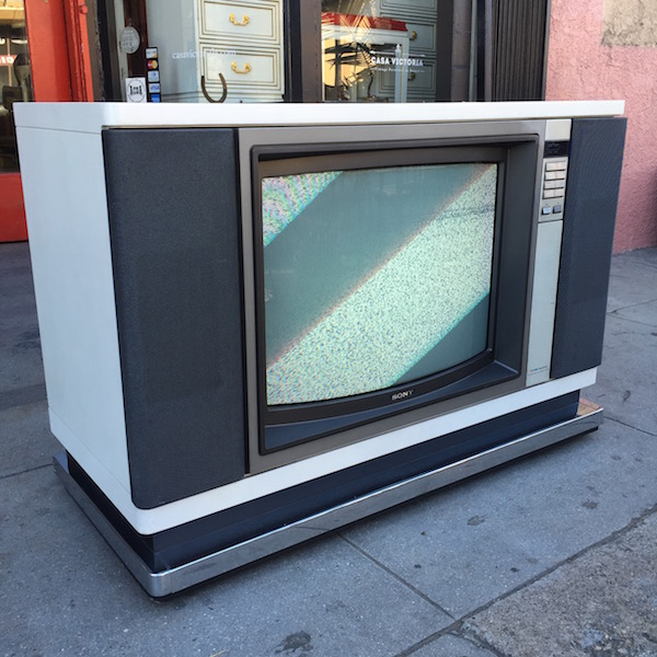 1985 White Lacquered Sony TV Cabinet