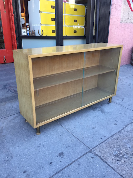 Mid-century Bookcase with Sliding Glass Doors