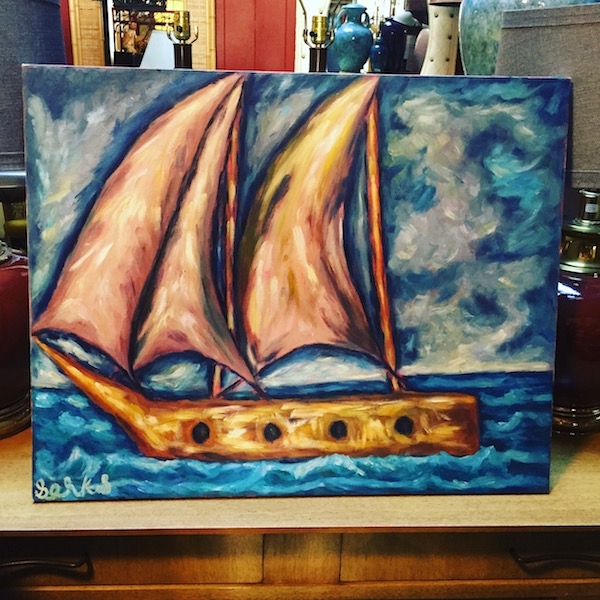 Vintage Boat Painting