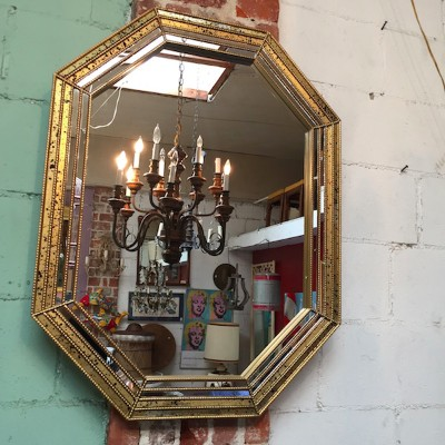 Vintage Mirror with Spotted Glass Trim