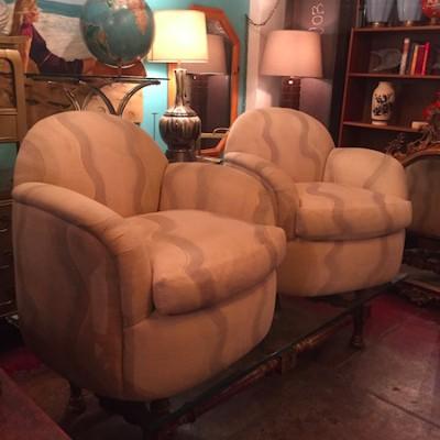 Pair of Custom Made 1980s Swivel Club Chairs