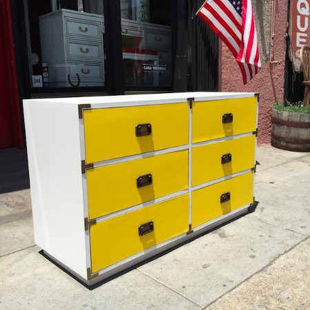1970s Yellow and White Campaign Dresser