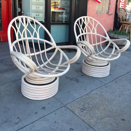 Pair of High Back Bamboo Chairs