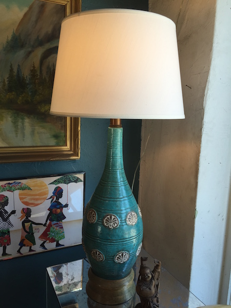 Large Turquoise Mid-century Pottery Lamp