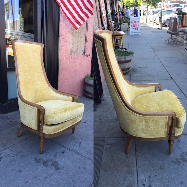 1960s High Back Velvet Club Chair by Drexel