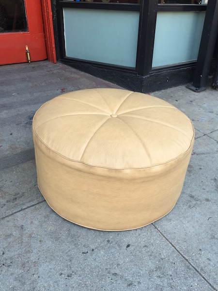 Large 1970s Tan Pouf