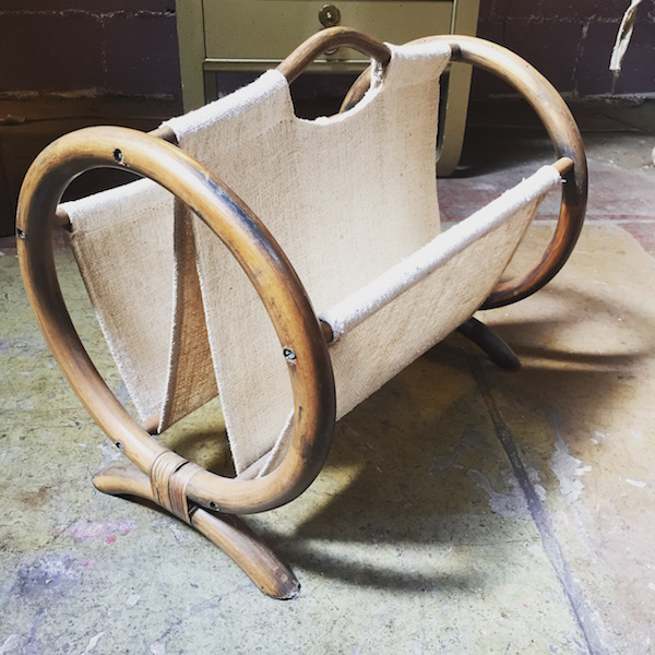 1970s Bamboo and Cotton Magazine Rack