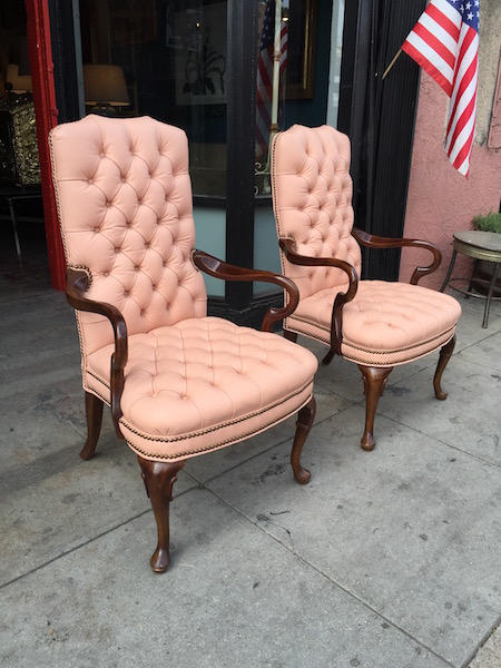 Pair of Leather High Back Arm Chairs