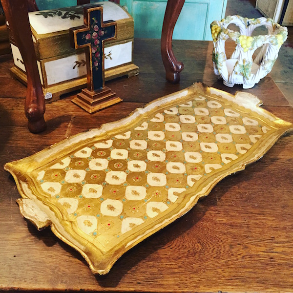 Gilded Wooden Serving Tray From Italy