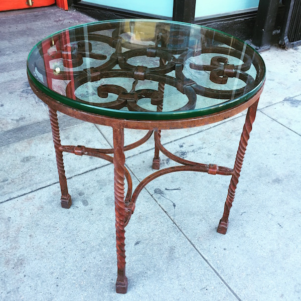 Round Vintage Table With Wrought Iron