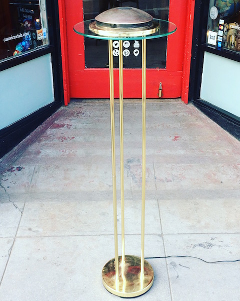 1980s Brass and Glass Halogen Floor Lamp