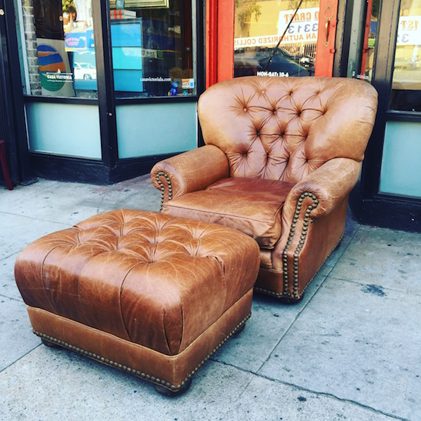 Large Full Grain Cowhide Club Chair with Ottoman