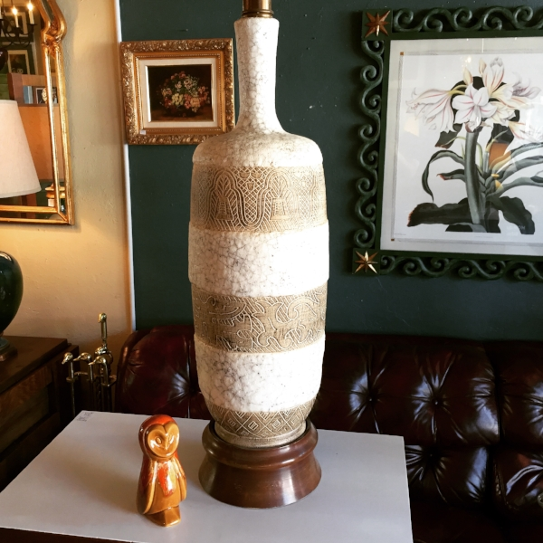 Tall Mid-century Pottery Lamp with Tribal Design