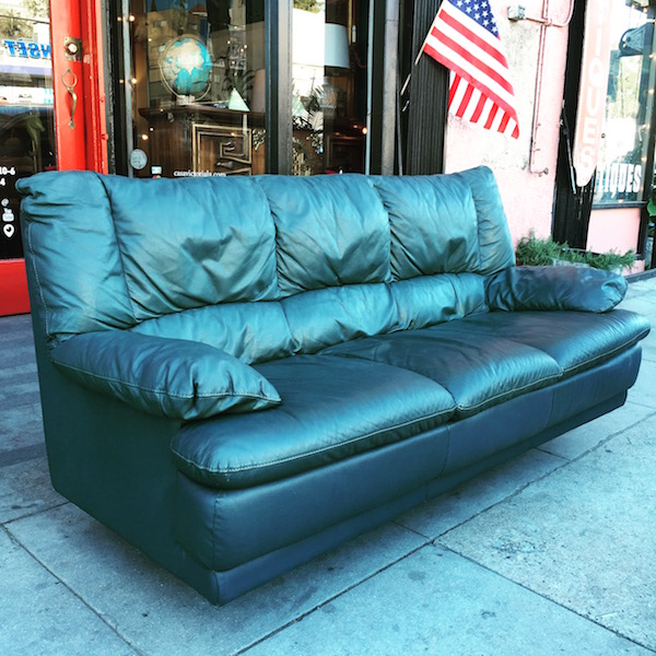 1960s Dark Green Leather Sofa
