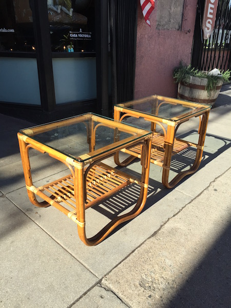 Pair of Square Rattan End Tables