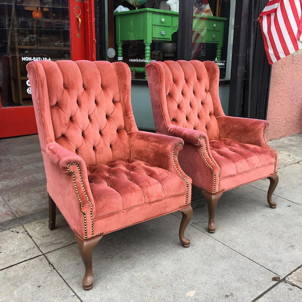 Pair of Fully Buttoned Copper Velvet Wing Chairs